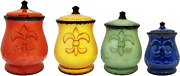 Fleur De Lis Canisters Ceramic Dishes Tuscany Lid Sugar Coffee Kitchen Set Of 4