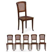 French Art Nouveau Antique Set Of Six Carved Walnut Dining Chairs 20th Century
