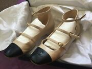 Classic 3 Straps Mary Jane Flat Shoes Leather Pearly Beige Eu38 Sold Out