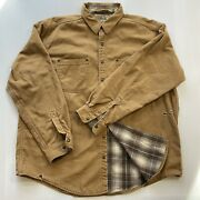 Ll Bean Work Barn Jacket Plaid Flannel Canvas Men Xl Distressed Snap Brown Vtg