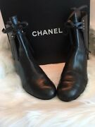 Boots Fringe Trimmed Ankle Black Boots Size 37 1/2 With Box