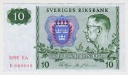 1990 Sweden 10 Kronor 698646 Paper Money Banknotes Currency