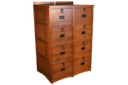 Crafters And Weavers Set Of Two Mission Style Solid Oak 4 Drawer File Cabinet