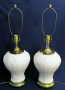 Matched Pair Of French 1940s White Leaf Pattern Porcelain Brass Base Table Lamps