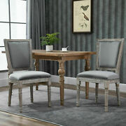 Homcom 2 Piece Vintage Dining Room Chair Set With Thick Padded Seat Cushions