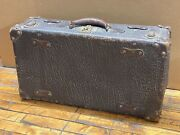 Vintage Antique Walrus Leather Skin Suitcase Luggage - 24 X 12 X 7 Size Brown