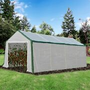 Huge Outdoor Growing Hot House Plant Nursery W/ Weather Resistant Pe Cover White