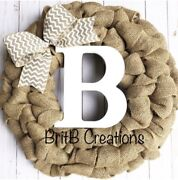 Burlap Wreath For Front Door With Initial Farmhouse Custom Year Round