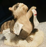 Rare Signed Dean Griff Charmingtails Extra Extra Racoon Figurine Silvestri