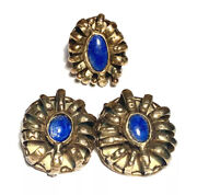 Vintage Brutalist Clip Earrings And Adjustable Ring With Lapis Colored Stones