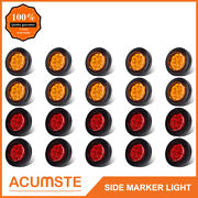 20pc 2 Round 9 Led Amber+red Side Marker Clearance Light Kit/grommet/wire Plug