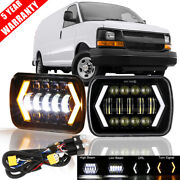 2x 7x6 5x7 Led Headlight Drl Turn Lamp+adapter Wire For Chevy Express Cargo Van