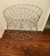 Vintage Farmhouse Metal Wire Collapsible Laundry Cart Basket On Wheels