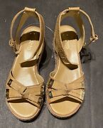 Tan Low Wedge Sandals Ankle Straps Size 5 Nwob