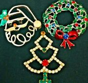 Christmas Tree Brooch Pin, Lot Of 3, Santa Claus Wreath Vintage Holiday Jewelry
