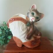 Vintage Royal Copley Cat Kitty With Cowboy Boot Ceramic Planter