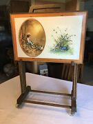 Vintage Set Of 4 Tv Trays W/stand Girl And Boy Images W/flowers