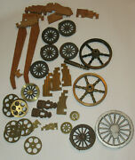 17 Lbs Of Model Cannon Parts Brass/cast Iron/aluminum Wheels Wood Carriage Pcs