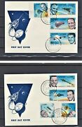 Qatar 1966 Rare Imperforated American Astronauts Stamps Set Of 8 On 2 Fdcand039s