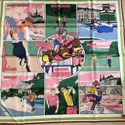 Hermes Scarf Stole Carre 90 Double Face Wow Horse Pink With Tag From Japan New