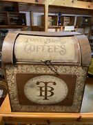 Large 24 Tall Antique Coffee Tin Counter Bin General Store Mercantile Display