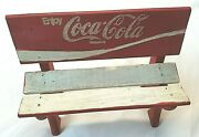 Vintage Enjoy Coca Cola Coke Advertising Doll Toy Bench White And Red