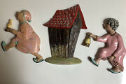 Lot Of 3 Plaques Vintage Arnel's Arnels Wall Hanging Race To The Outhouse.