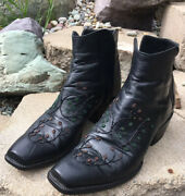 Tres Outlaws Black Beaded Western Cowgirl Ankle Booties Boots 9c