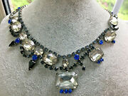 Tom Binns Blue And Clear And Black Crystal Necklace, 15 Collar/choker