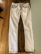 Miss Me White Jeans Tag Size 27 Jp7214ck3 Pants Cuffed Skinny