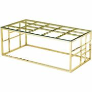 Best Master Furniture 48 Rectangular Modern Clear Glass Coffee Table In Gold