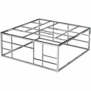 Best Master Furniture 42 Square Modern Clear Glass Coffee Table In Silver