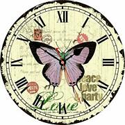 Sale Large 14 Vintage Wooden Wall Clock Silent Non Ticking Retro, Butterfly