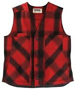 Stormy Kromer Button Vest - Cold Weather Menandrsquos Wool Vest - Red Plaid Large Tall