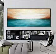 30 X 72 Original Blue Landscape Painting Large Oil Abstract Panoramic Wall Art