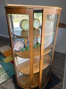 Nice Antique  Early 1900's Wood Curved Glass Mirror Display Case