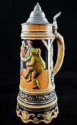 Vintage Pewter Lidded German Musical Beer Stein 20 Lift And Play Music Box 13