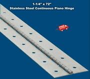 Stainless Steel Continuous Piano Hinge 1-1/4 X 6and039 Full Surface Non-removable Pin