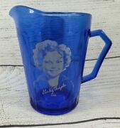 Shirley Temple Pitcher Cup Cobalt Bluedepression Glassrarecollectiblevintage