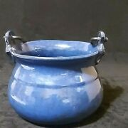 Vintage Pottery Italy Blue Kettle/cauldron W/cast Iron Handle 6957 Pv Preowned