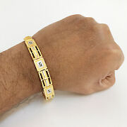 Fine Jewelry 18 Kt Yellow Gold 2 Tone Menand039s Bracelet 9 Inches 25.950 Grams