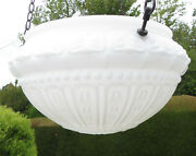 Vintage Moulded White Glass Flycatcher / Fly Catcher Hanging Shade With Chains