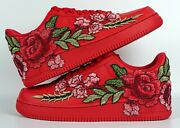 🌹 Nike Air Force 1 07 Low Triple Red Rose Flower Floral Custom Shoes All Size