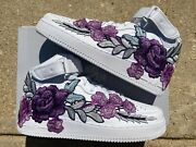🌹 Nike Air Force 1 07 Mid Purple Rose Flower Floral White Custom Shoes All Size