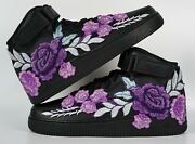 🌹 Nike Air Force 1 07 Mid Purple Rose Flower Floral Black Custom Shoes All Size