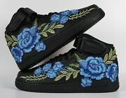 🌹 Nike Air Force 1 07 Mid Blue Rose Flower Floral Black Custom Shoes All Size