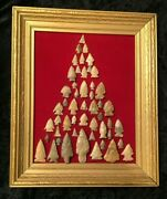 Framed Native American Arrowhead Collection 50 Large And Small Arrowheads