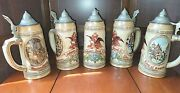 Lot Of 5 Vintage 80and039s/90and039s Budweiser Beer Pewter Lid Stein Mugs