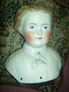 Large Antique Parian Dresden China Male Doll Shoulder Head Only W/glazed Ascot