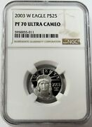 2003 W Platinum 25 American Eagle 6829 Minted 1/4 Oz Proof Coin Ngc Pf 70 Uc